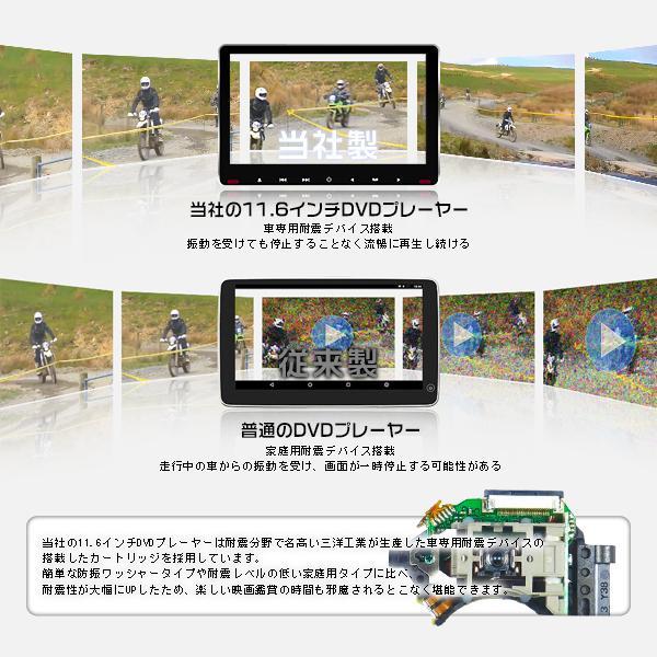 ヘッドレストモニター 11.6インチ DVDプレーヤー 車載モニター 1080p IPS液晶 イヤホン進呈 耐震デバイス マルチメディア スロットイン式 HDMI CPRM対応 hikaritrading1 02