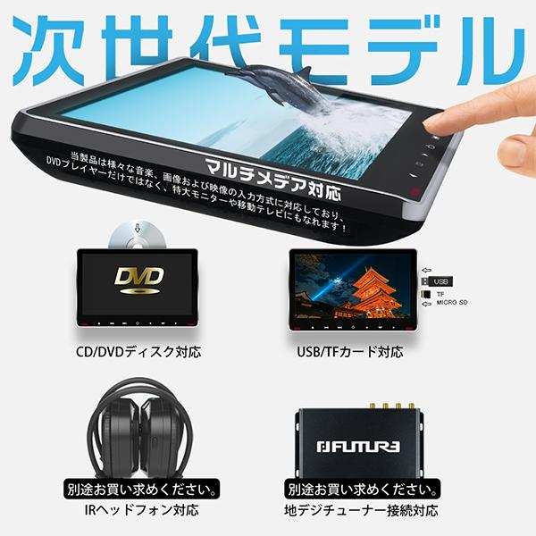 ヘッドレストモニター 11.6インチ DVDプレーヤー 車載モニター 1080p IPS液晶 イヤホン進呈 耐震デバイス マルチメディア スロットイン式 HDMI CPRM対応 hikaritrading1 05