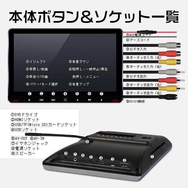 ヘッドレストモニター 11.6インチ DVDプレーヤー 車載モニター 1080p IPS液晶 イヤホン進呈 耐震デバイス マルチメディア スロットイン式 HDMI CPRM対応 hikaritrading1 07