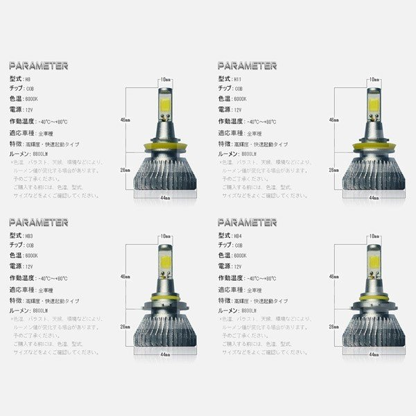 最大26倍ポイント&3%クーポンLEDヘッドライト フォグランプ COBチップ搭載 二面発光 LEDバルブ 8800LM H1 H3 H4 H7 HB3 HB4 6000K 快速起動 rd|hikaritrading1|06