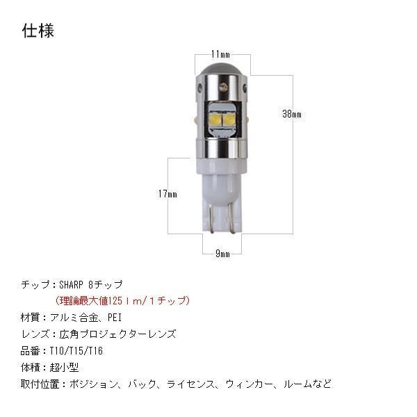 40W  人気のSHARP製 LEDバルブ T10 T15 T16 超高輝度 LEDポジション バック ライセンス ウィンカー ルームランプ対応 均一発光 2個|hikaritrading1|05