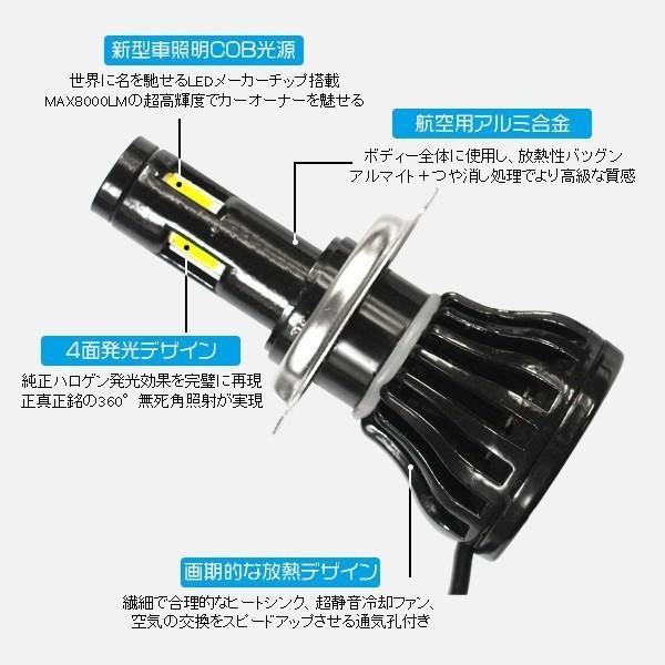 3%クーポン!LEDヘッドライト/フォグランプ 新世代COB型 H7 H8 H11 H16 H4 Hi/Lo切替 8000LM 4面発光 360°無死角発光 バルブ2個 nzg|hikaritrading1|02