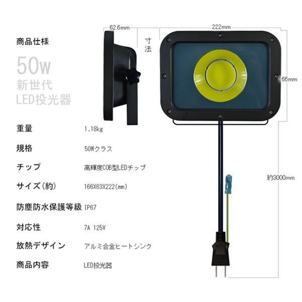 新型KTシリーズ LED投光器 50w led作業灯 10750lm 2倍明るさ保証 業界独自安全第一対策 3mコード アース付きプラグ PSE PL 昼光色 1年保証 1個YHW|hikaritrading1|06