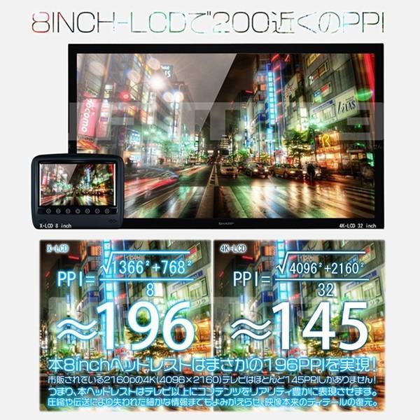 最大26倍ポイント&3%クーポンヘッドレストモニター WXGA+ 8インチ モニター 1366×768 X-LCD 高画質 X-LCD レザー モケット 色自由選択 2台セット 1年保証|hikaritrading1|02