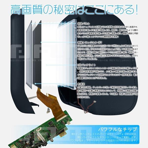 送料無料 ヘッドレストモニター WXGA+ 8インチ モニター 1366×768 X-LCD 高画質 X-LCD レザー モケット 色自由選択 2台セット 1年保証|hikaritrading1|05