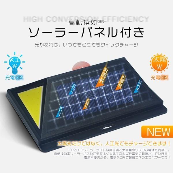 独占販売 102LED ソーラーライト センサーライト 3面発光 人工光・太陽光発電 人感センサー COBチップ 充電指示機能付 ledライト 外灯 屋外照明 防水 1個3csl|hikaritrading1|03