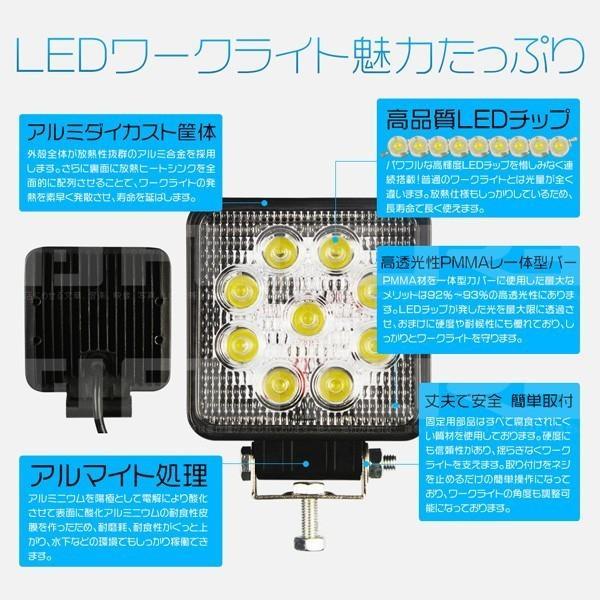 最大30P&5% 送料無料 27WLED作業灯 3200LM ワークライト 投光器 PL保険 9連 集魚灯 看板灯 12V/24V 角型 広角 拡散 10個C02|hikaritrading1|02