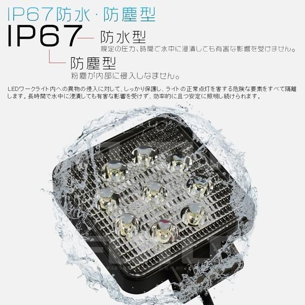 送料無料 27WLED作業灯 3200LM ワークライト 投光器 PL保険 9連 集魚灯 看板灯 12V/24V 角型 広角 拡散 10個C02|hikaritrading1|05