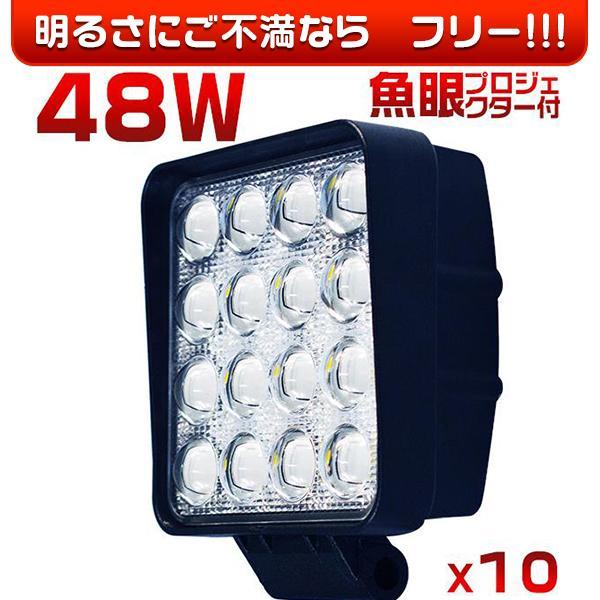偽物にご注意 48W LED作業灯 LED ワークライト led投光器 防水 6000lm PMMAレンズ 30%UP 狭角 広角 拡散集光 12/24V フォークリフト トラック 送料無 10個TD|hikaritrading1
