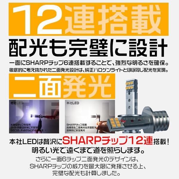 送料無料 LEDバルブ 60W H1 H3 H3C LED SHARPチップ 12連搭載 360°無死角発光 二面発光 12V  LEDライト フォグランプLED化 2個セット|hikaritrading1|06