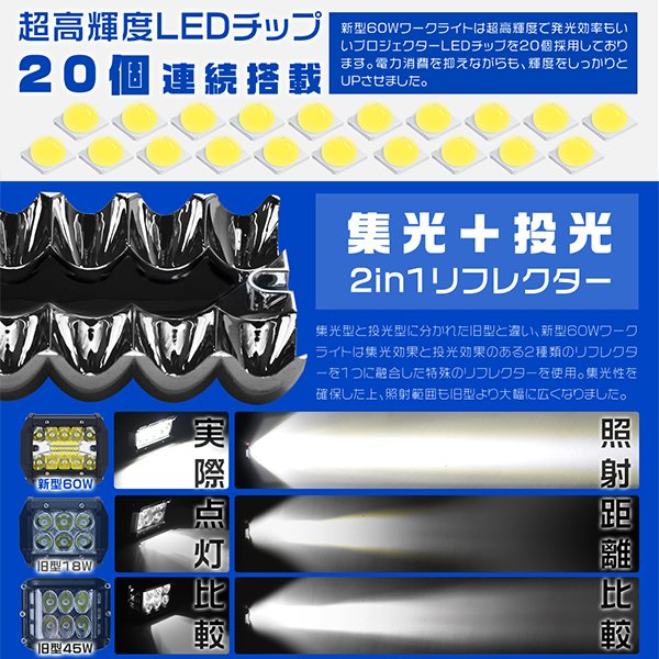LED作業灯 ワークライト 60W OSRAM製チップを凌ぐ ledライト led投光器 防水 トラック 集魚灯 看板灯 12V/24V 広角 拡散 投光&集光両立 一年保証 2個C3 hikaritrading1 04