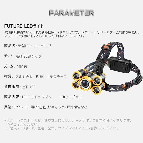 a特売 LED ヘッドライト 充電式 ヘッドランプ 懐中電灯 5灯発光 4モード MAX8000ルーメン ボディーセンサー 120°調整 防水 登山 釣り キャンプ 送料無1個YXF|hikaritrading1|06