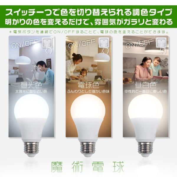 LED電球 E26 60w形 一般電球形 魔術電球 ワンクリックで色変更可能 広配光 調色タイプ 昼光色/電球色/昼白色切替え 節電 PSE ledランプ 5年保証 4個SE|hikaritrading1|02