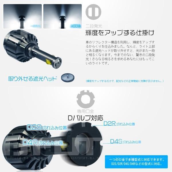 最大26P&3% EMC対応 LEDヘッドライト オールインワン高輝度二段発光 7200lm 5500K 両面発光 40W D2S D2R D4S D4R D2 D4純正発光 1年保証slj|hikaritrading1|03