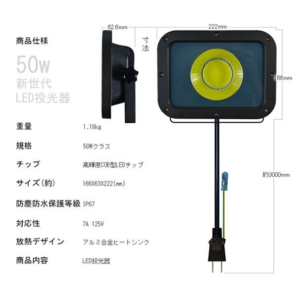 新型KTシリーズ LED投光器 50w led作業灯 10750lm 2倍明るさ保証 業界独自安全第一対策 3mコード アース付きプラグ PSE PL 昼光色 1年保証 1個YHW-I|hikaritrading1|06