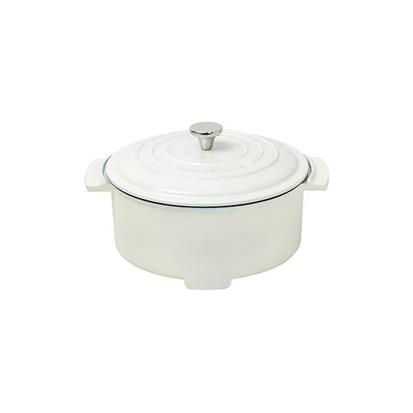 YAMAZEN ●キャセロールグリル鍋 かわいいデザイン 軽々運べる YGC-800(W)