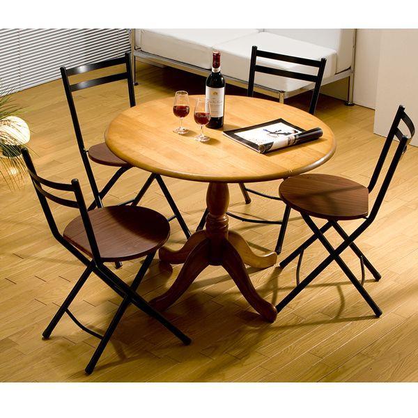 ダイニングテーブルセット 5点セット 食卓テーブル 円形テーブル ラウンドダイニング5点セット 円卓 折りたたみ椅子|himalaya