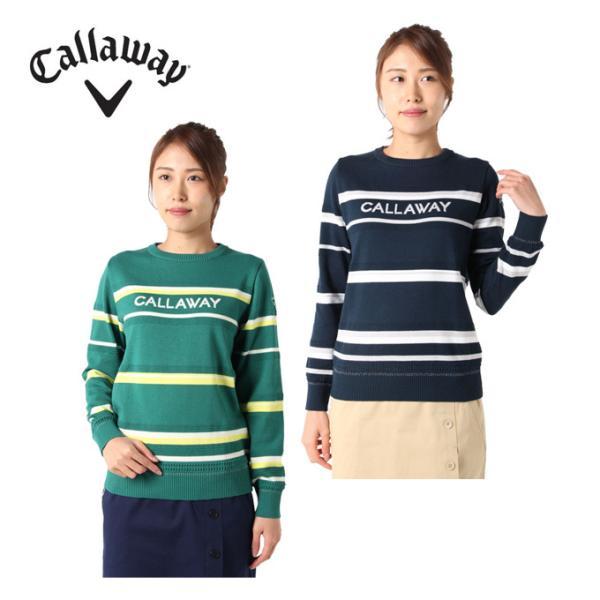 キャロウェイゴルフウェアセーターレディースボーダークルーネックニットセーター241-1118802Callaway