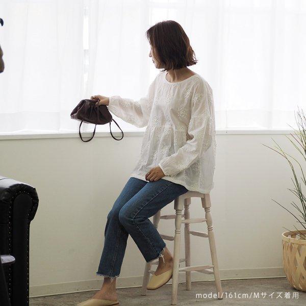 小花刺繍ブラウス レディース ブラウス 長袖 ラウンドネック ホワイト 白 レース 刺繍 大人可愛い mサイズ 20代 30代 40代|himawari1013|05