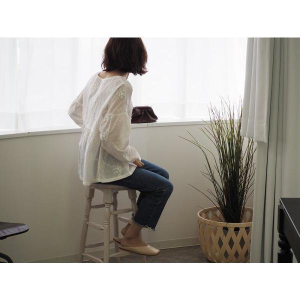 小花刺繍ブラウス レディース ブラウス 長袖 ラウンドネック ホワイト 白 レース 刺繍 大人可愛い mサイズ 20代 30代 40代|himawari1013|07