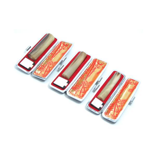 印鑑 実印 はんこ オランダ水牛3本セットケース付 印鑑セット15mm/13.5mm/12mm 銀行印 認印 男性 女性 化粧箱付も可 日用品