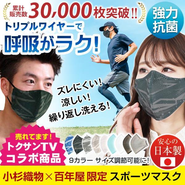 スポーツマスク日本製小杉織物抗菌野球夏用マスク洗える大きめメンズノーズワイヤー洗えるマスク涼しい紐調整スポーツ