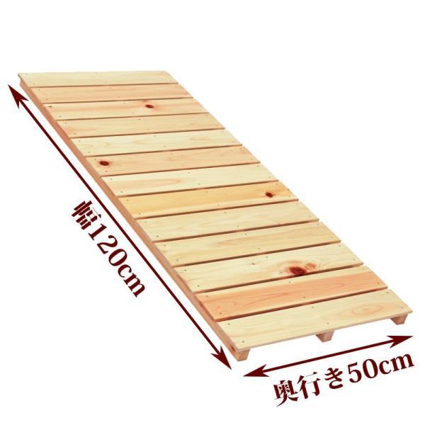 ベランダすのこ 幅120cm×奥行50cm 国産ひのき ラック 棚 板材 桧 ヒノキ 檜