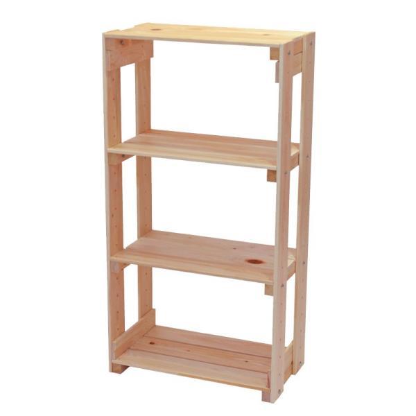 オープンラック 木製 高さ90cmタイプ 幅47cm 国産ひのき 無垢材 本棚 すのこ棚