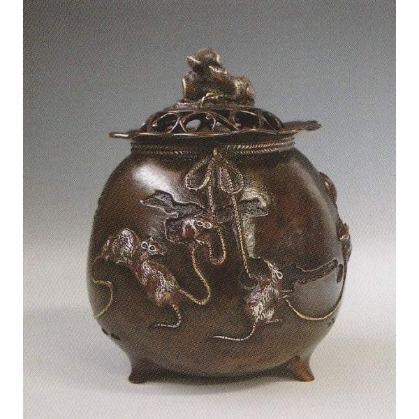 子年の置物/福鼠 宝袋香炉 高岡銅器 干支・ねずみ(鼠)の置物