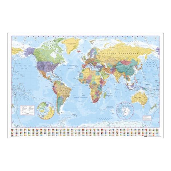 世界地図/学習ポスター フレーム(額)なし|hinokiyashop