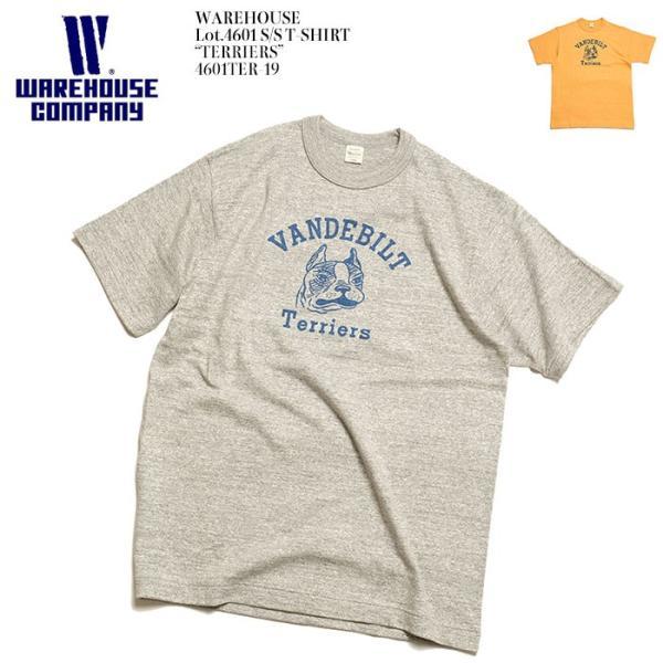 "WAREHOUSE(ウエアハウス) Lot.4601 半袖Tシャツ ""TERRIERS"" 4601TER-19|hinoya-ameyoko"