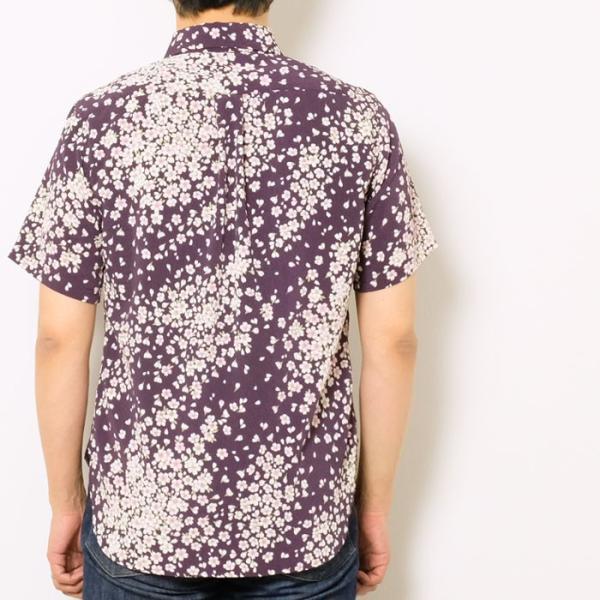 衣櫻(ころもざくら) Lot.SA-1281 縮緬素材 半袖レギュラーシャツ