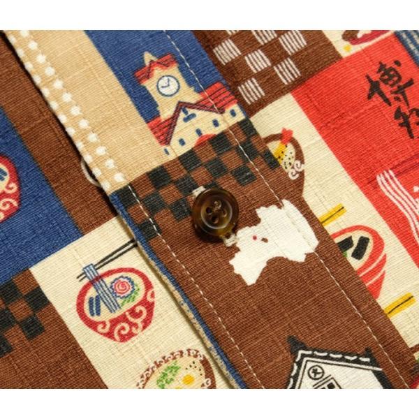 衣櫻(ころもざくら) Lot.SA-1287 サザンクロス素材 半袖レギュラーシャツ ラーメン柄パッチワークプリント SA1287 hinoya-ameyoko 05