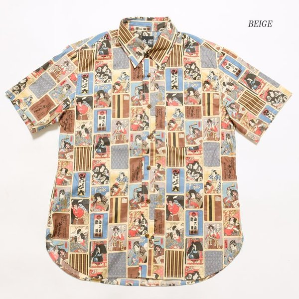 衣櫻(ころもざくら) Lot.SA-1289 シーチング素材 半袖レギュラーシャツ