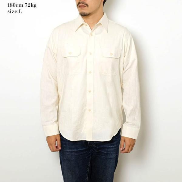SUGARCANE(シュガーケーン) ホワイト シャンブレー 長袖ワークシャツ SC27851|hinoya-ameyoko|02