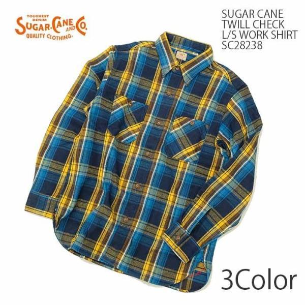 SUGARCANE(シュガーケーン) ツイルチェック 長袖ワークシャツ SC28238|hinoya-ameyoko
