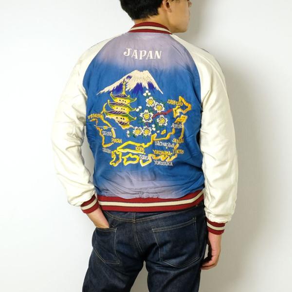 "TAILOR TOYO(テーラー東洋) アセテート スーベニアジャケット エイジングモデル ""ROARING TIGER"" × ""JAPAN MAP""  TT14468 hinoya-ameyoko 04"