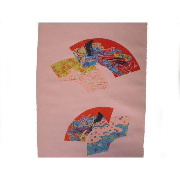 着物のはぎれ 2-3扇面姫 京小紋 反物切り売り(50cm単位) 絹のハギレ