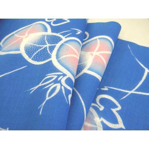 浴衣反物 注染 浜松本染 綿変り織 青地朝顔 日本製