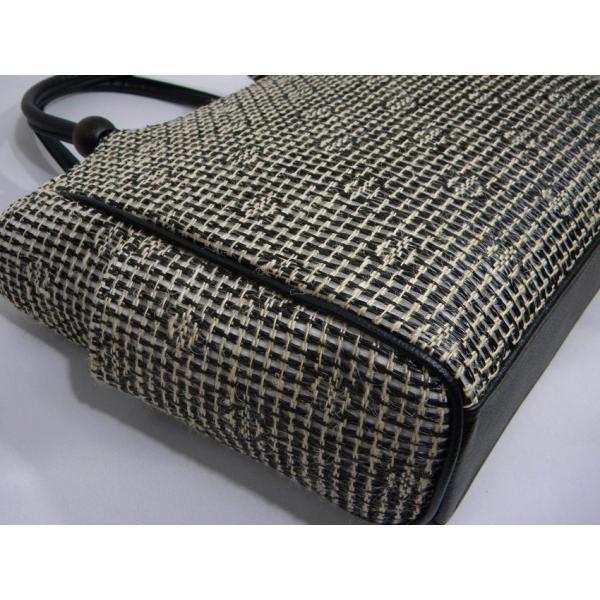 夏バッグ 網代編み 手提げトートバッグ ブラック 日本製