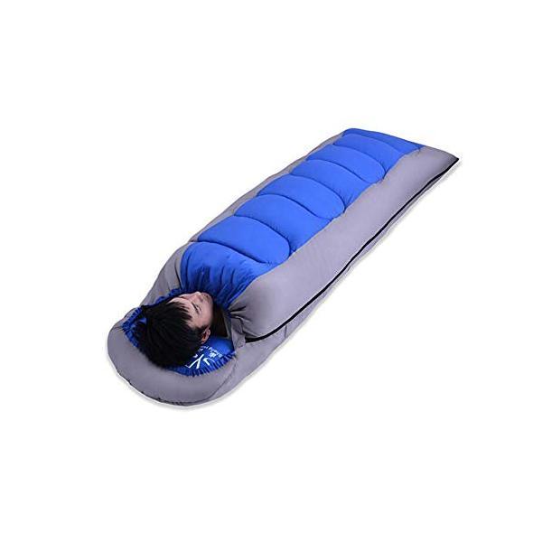 Shamo Camel 寝袋 シュラフ スリーピングバッグ 封筒型 コンパクト 軽量 丸洗い 最低使用温度-5度 収納袋 3カラー -028 (青)|hinozakka
