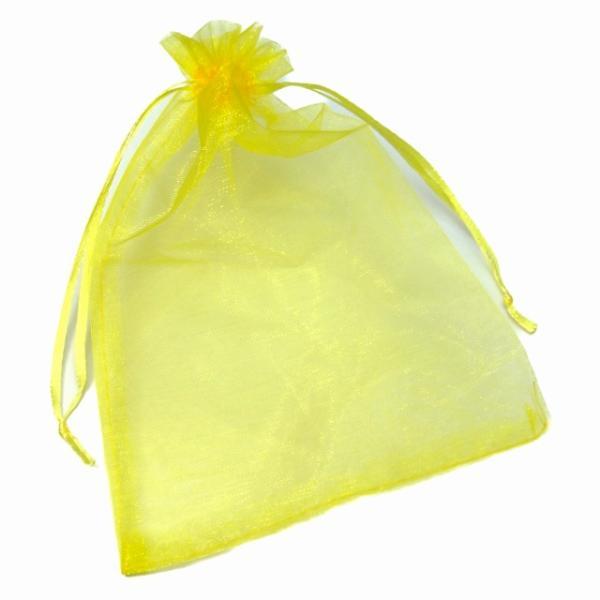 オーガンジーポーチ 4枚セット 18.5×13cm Lサイズ オーガンジー 黄色 イエロー 巾着袋 ジュエリー アクセサリー入れ 保管用 収納 小物入れ パワーストーン