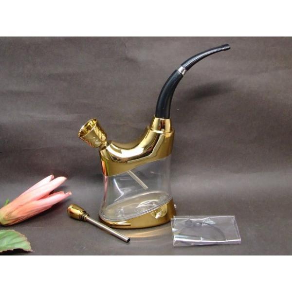 水11  光る 水パイプ ゴールド パイプ 喫煙 タバコ 喫煙具 送料無料
