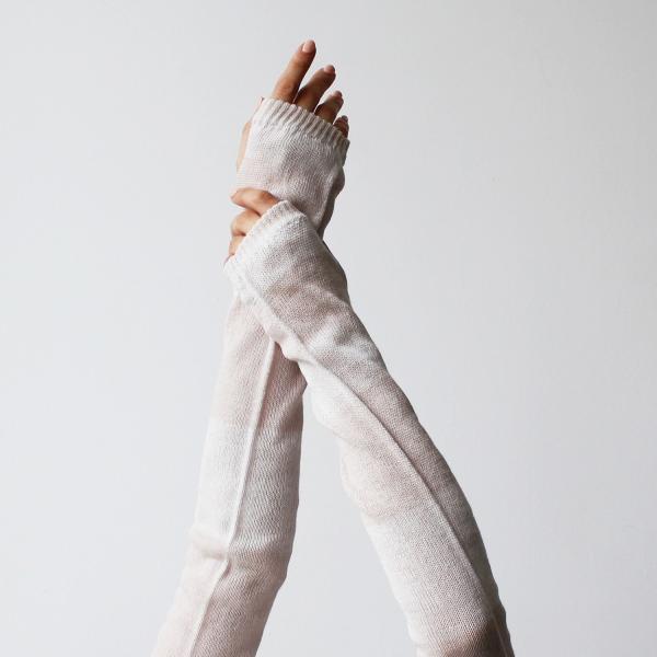 % PERCENT アームカバー(ベージュ&ホワイト)抗菌・防臭・吸水・通気性・日焼け予防|hint