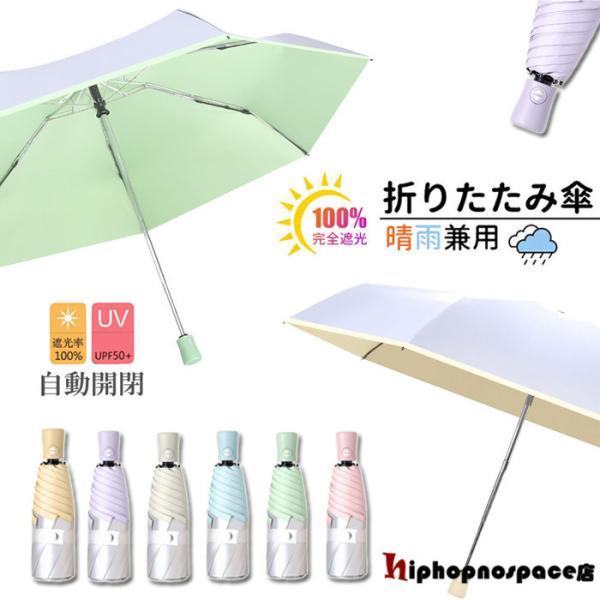 折りたたみ傘ひんやり傘晴雨兼用ワンタッチ自動開閉撥水軽量折り畳み傘レディース遮光UVカット日傘雨傘無地通勤通学可愛いコンパクト