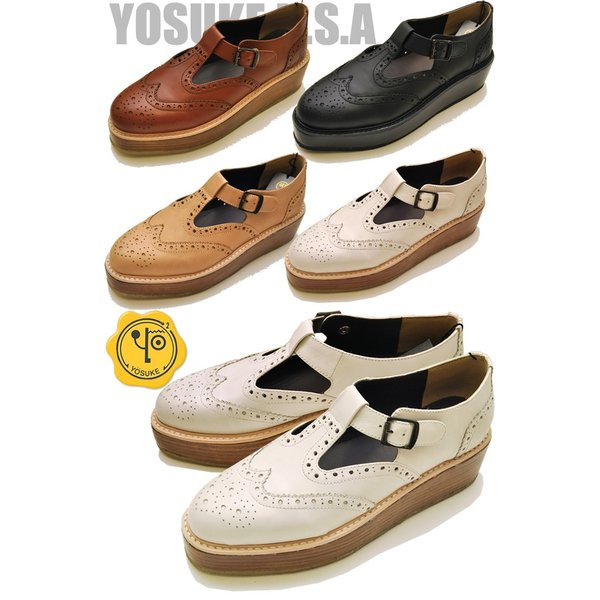 予約販売6月上旬入荷予定 厚底 Tストラップシューズ 本革 レディース YOSUKE ヨースケ 靴
