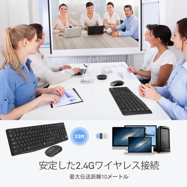 ワイヤレスキーボード 静音マウスセット ワイヤレスコンボ  2.4Gキーボード 無線マウス ブラック佐川急便|hirofukushop|06