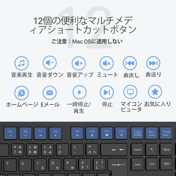 ワイヤレスキーボード 静音マウスセット ワイヤレスコンボ  2.4Gキーボード 無線マウス ブラック佐川急便|hirofukushop|07
