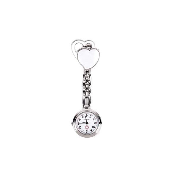 ハート柄 逆さ時計 ナースウォッチ ホワイト 看護師時計 レディース かわいい おしゃれ 時計 _
