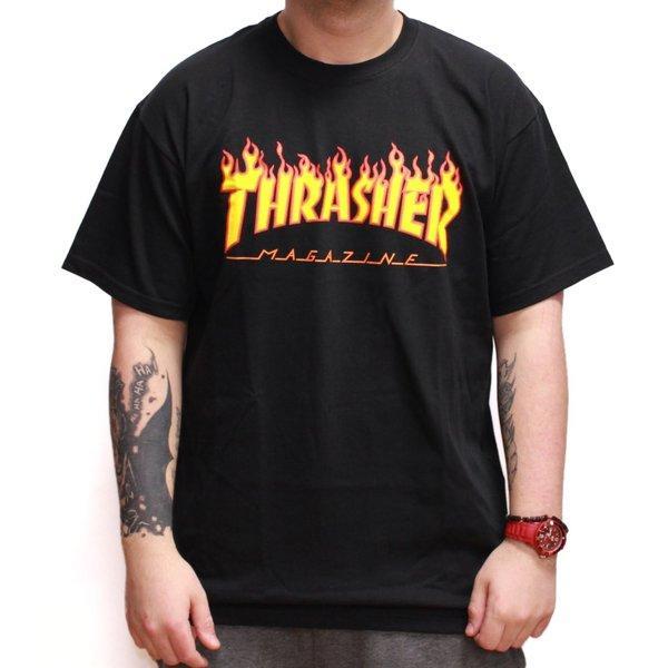 8911e157386e Clothes, Caps & Beanies Thrasher Skateboard Skate Mag Flame Logo Black T  Shirt Skateboarding